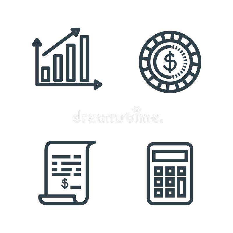 Set statistics bar with coin and invoice report. Vector illustration royalty free illustration