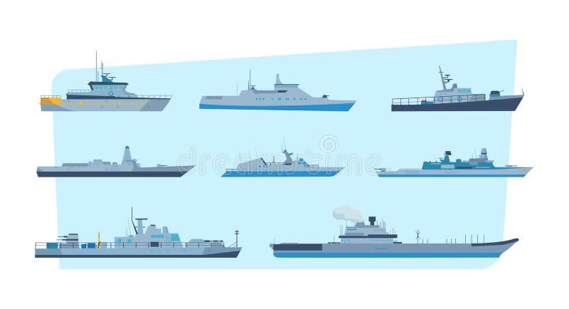 Set statki w nowożytnym mieszkanie stylu: statki, łodzie, promy royalty ilustracja