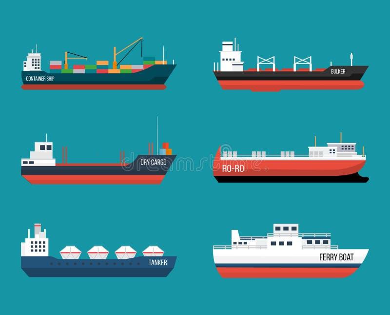 Set statki w nowożytnym mieszkanie stylu royalty ilustracja