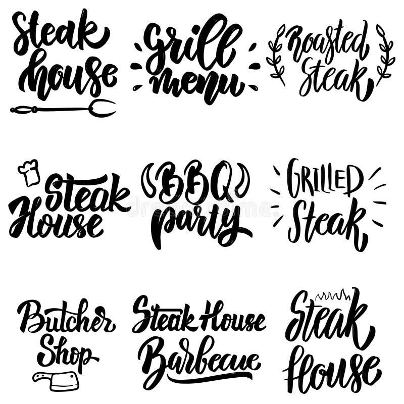 Set steakhouse, grilla menu, bbq partyjny literowanie Projektuje element dla plakata, karta, sztandar, menu royalty ilustracja