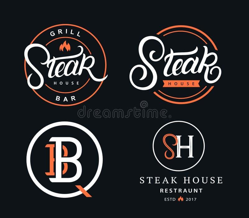 Set steakhouse logowie royalty ilustracja