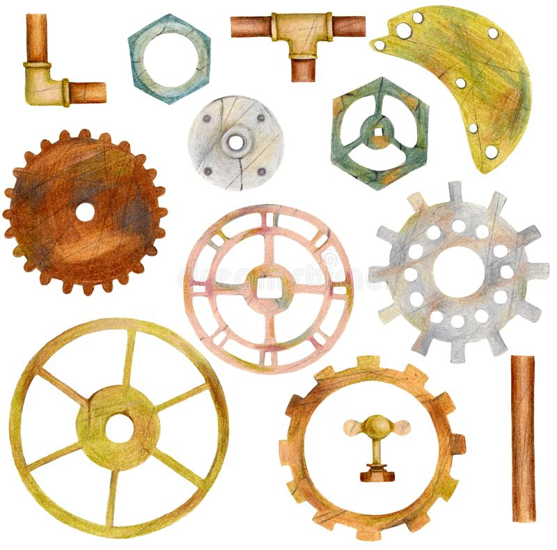 Set of steampunk elements with gears, pipes, ventils, nut. Hand drawn colored pencil illustration royalty free stock images