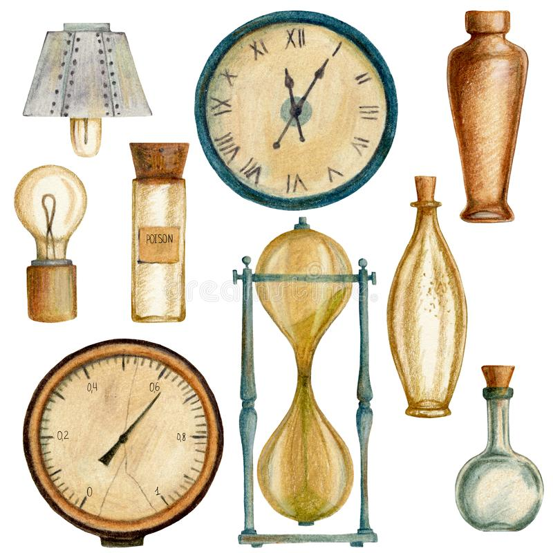 Set steampunk elementy z butelkami, zegarami, lampą, barometrem i sandglass, fotografia royalty free