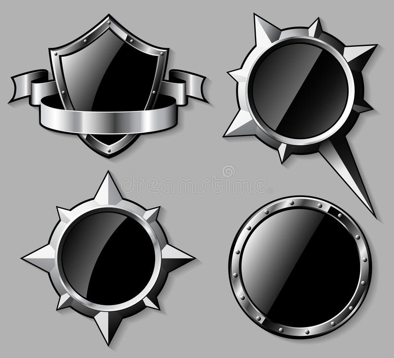 Set of steel glossy shields and compass roses stock illustration