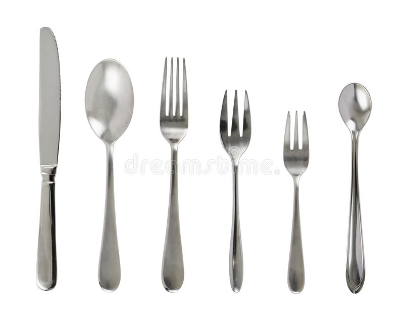Set of steel metal table cutlery stock images