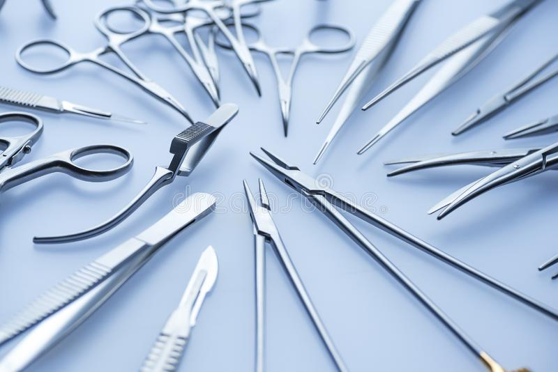 Set of steel surgical tools royalty free stock images