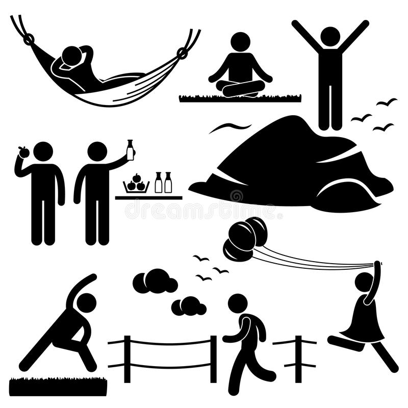 Healthy Living Wellness Lifestyle Pictogram Stock Images