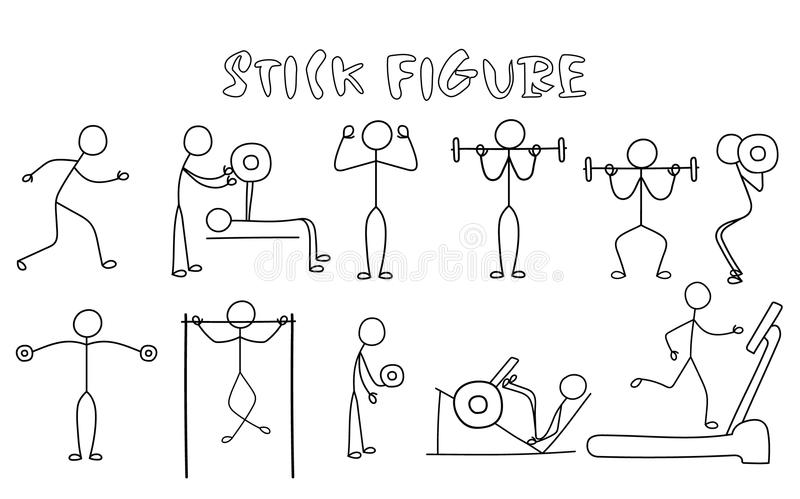 exercise stick figure set stock illustrations 427 exercise stick  resistance stick figure diagrams #14