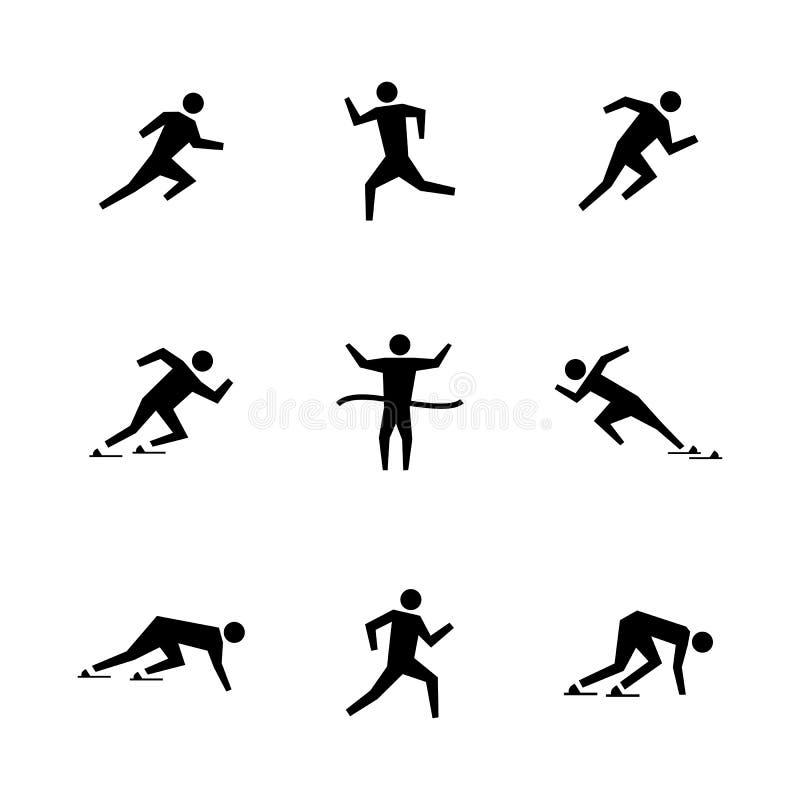 Set stick figures of runners, illustration. vector illustration