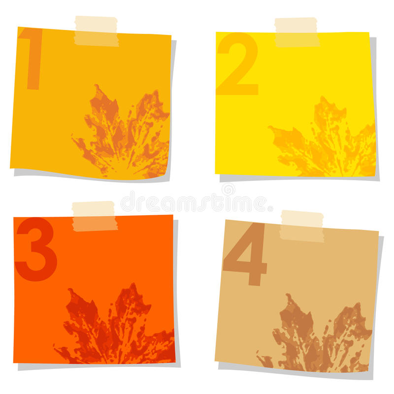 Set of stick notes papers, autumn design,. Set of stick notes papers with watercolor prints of leaves, illustration isolated on white background royalty free illustration