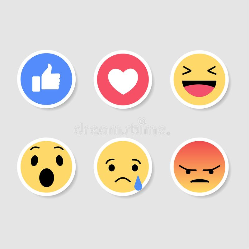 Stock vector sticker emoticon social media. Set of sticker Emoticons. Emoji social network reactions icon. Yellow smilies, set smiley emotion, by smilies