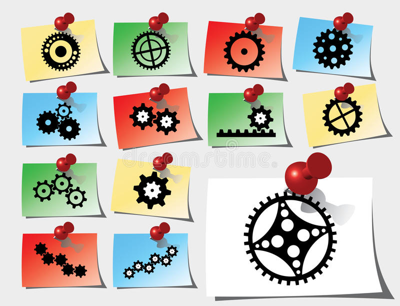 Set stickers - 142_S. Gears stock illustration