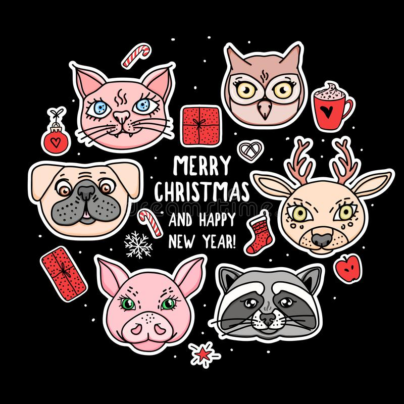 Set stickers animal face. Merry Christmas and Happy New Year card on black. Vector hand drawn heads holidays design stock illustration