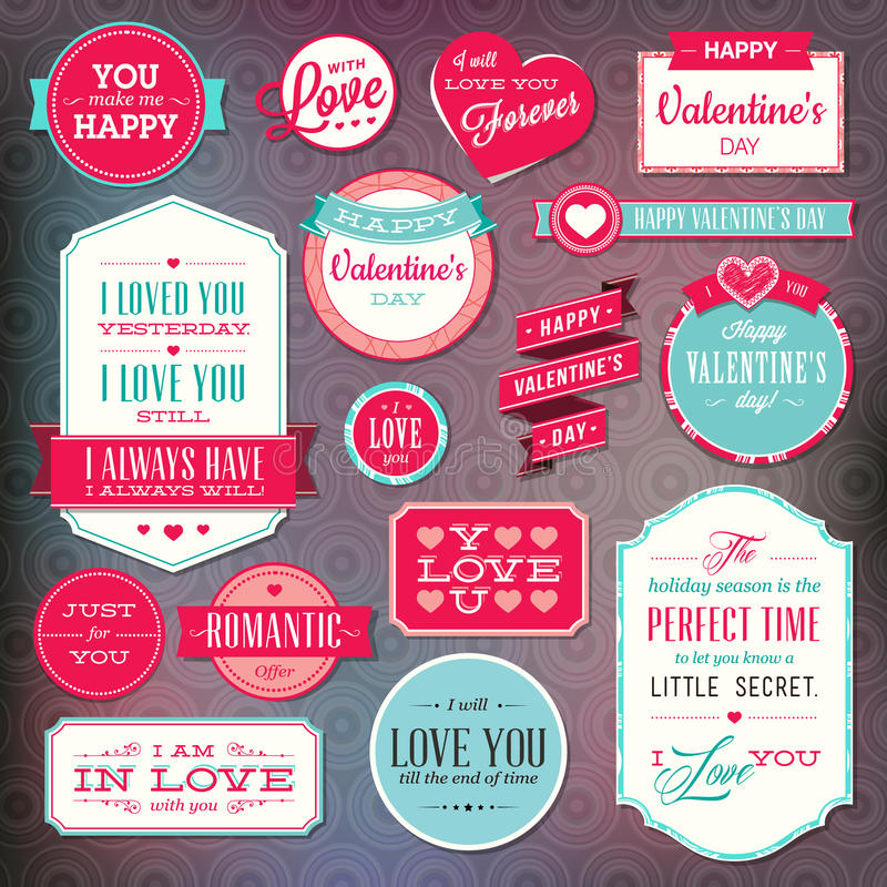 Set of stickers and badges for Valentine`s day. Set of vector stickers and badges for Valentine`s day stock illustration