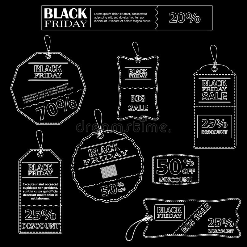 Set of stickers in black and white for sales on Black Friday. Set of stickers for sale on Black Friday stock illustration