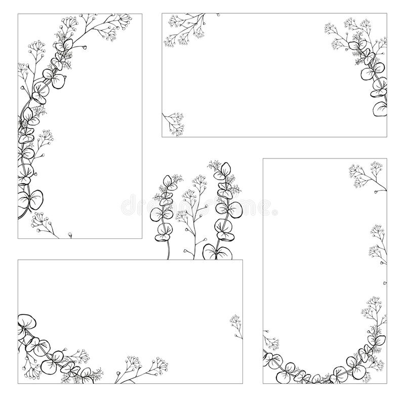A set of stickers, business cards with hand drawings of black and white eucalyptus branches with leaves. Vector isolated. royalty free illustration