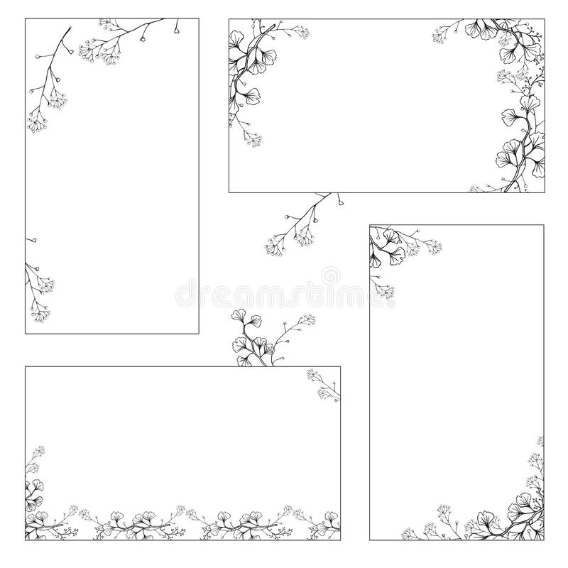A set of stickers, business cards with hand drawings of black and white Ginkgo branches with leaves. Vector isolated. vector illustration