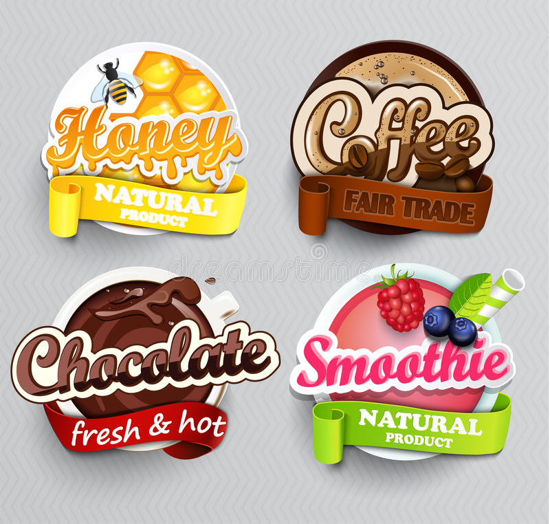 Set of stickers for drinks. vector illustration