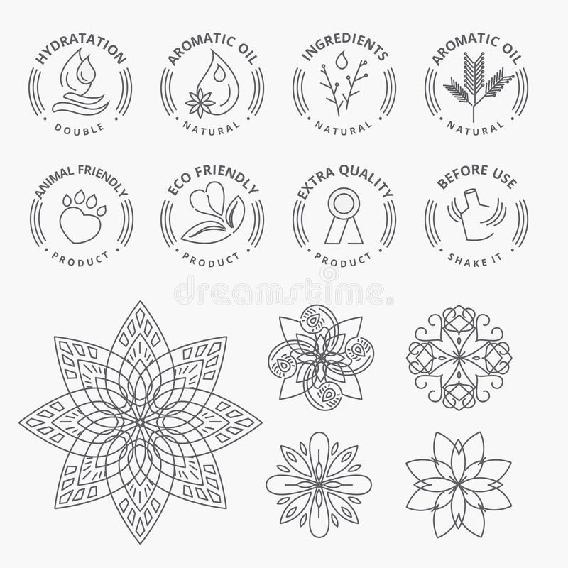 Set of stickers and elements for natural products, beauty and cosmetics. Thin line vector illustration concepts for graphic and web design royalty free illustration