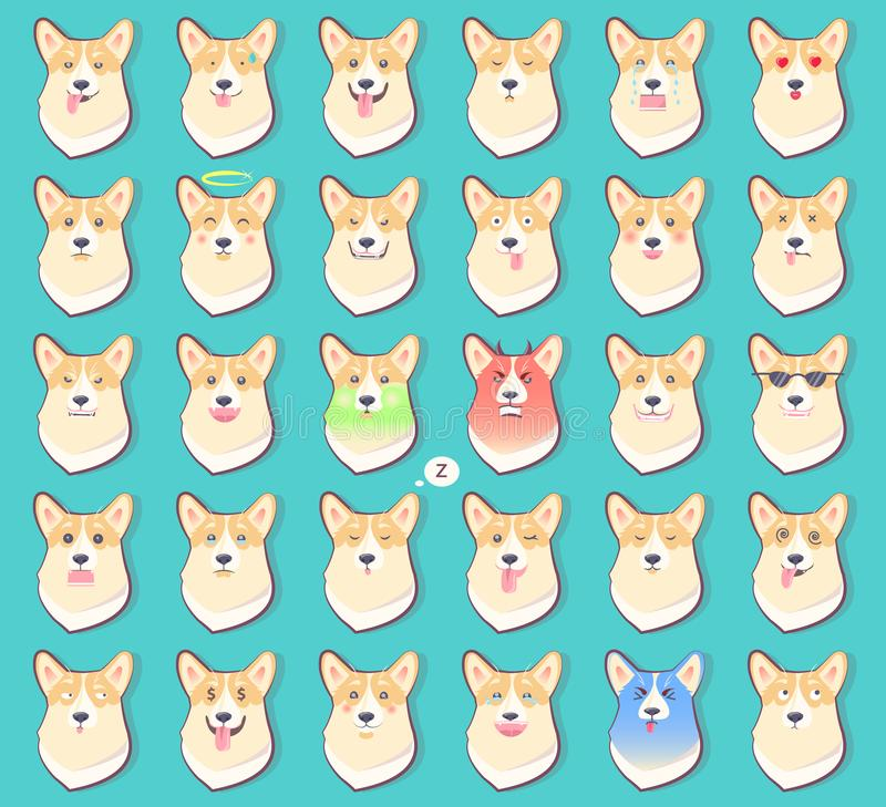 Set of Stickers with Emotions of Dog Vector stock illustration