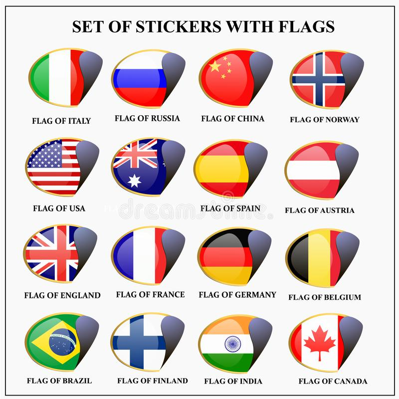 Set of stickers with flags. royalty free illustration