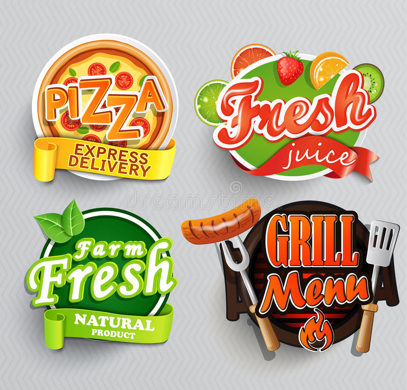 Set of stickers for food. stock illustration