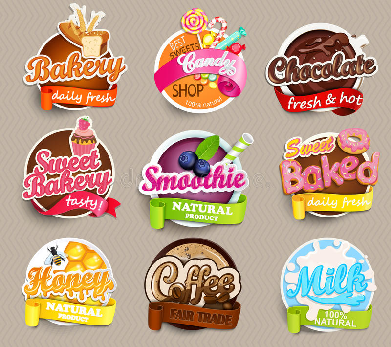 Set stickers of food. royalty free illustration