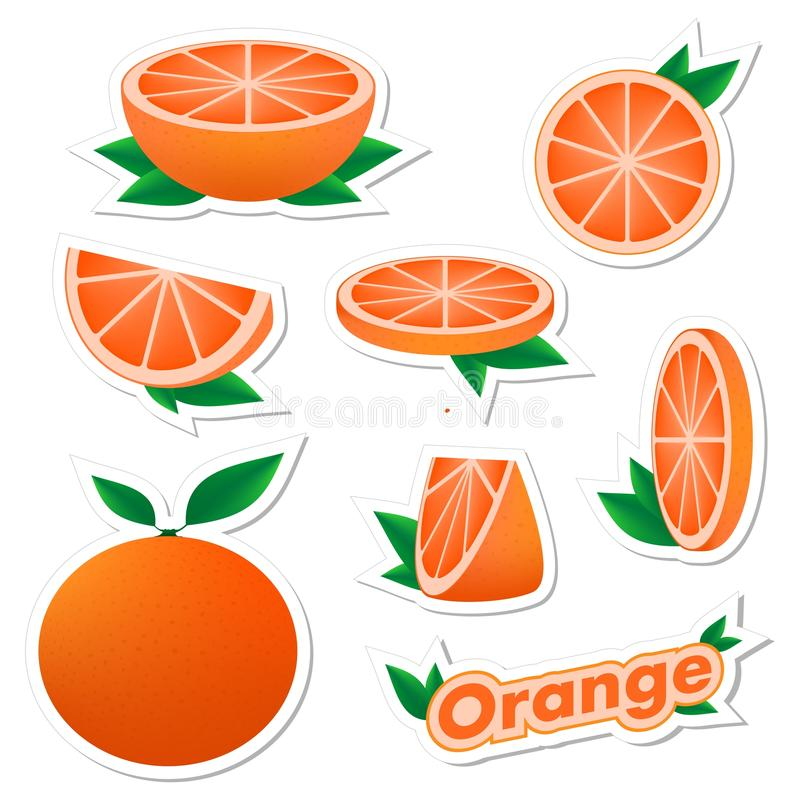 Set stickers of fresh citrus sliced and whole orange fruit with skin with green leaves on a white background. The concept of healt. Hy eating royalty free illustration