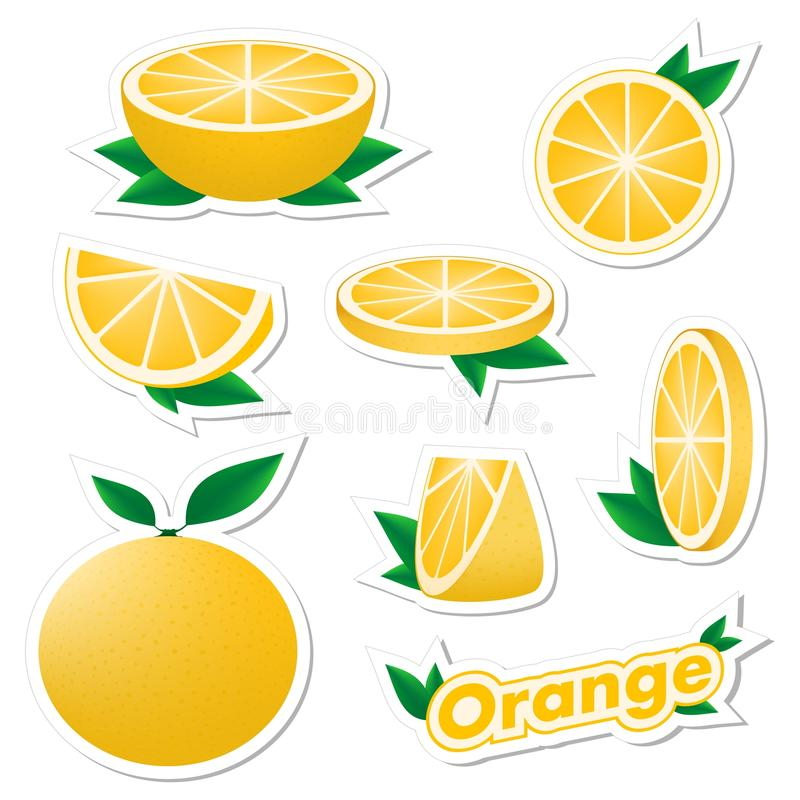 Set stickers of fresh citrus sliced and whole orange fruit with skin with green leaves on a white background. The concept of healt. Hy eating vector illustration
