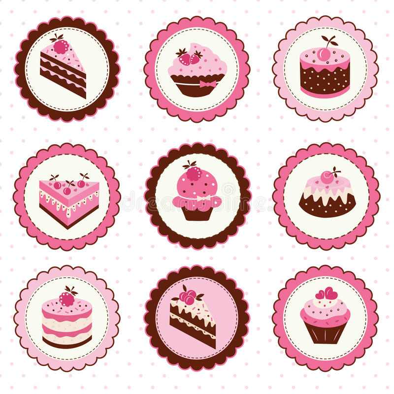 Set of cakes stickers stock illustration