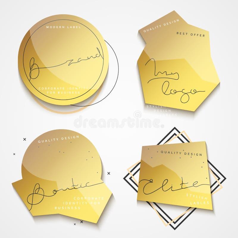 Download set of 4 stickers gold label vintage labels stock vector illustration