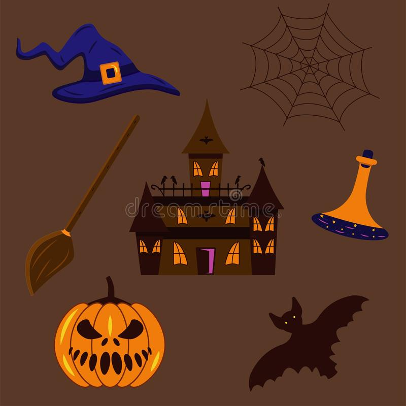 Set of stickers for Halloween stock illustration