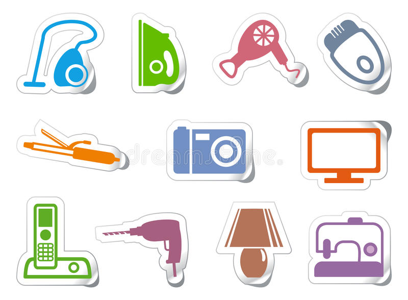Set of stickers home appliances vector illustration
