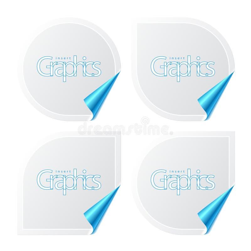 Set of stickers with peeling corners stock illustration