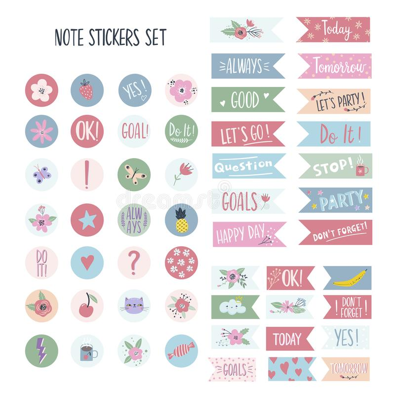 Set of stickers for planners and to do lists stock illustration