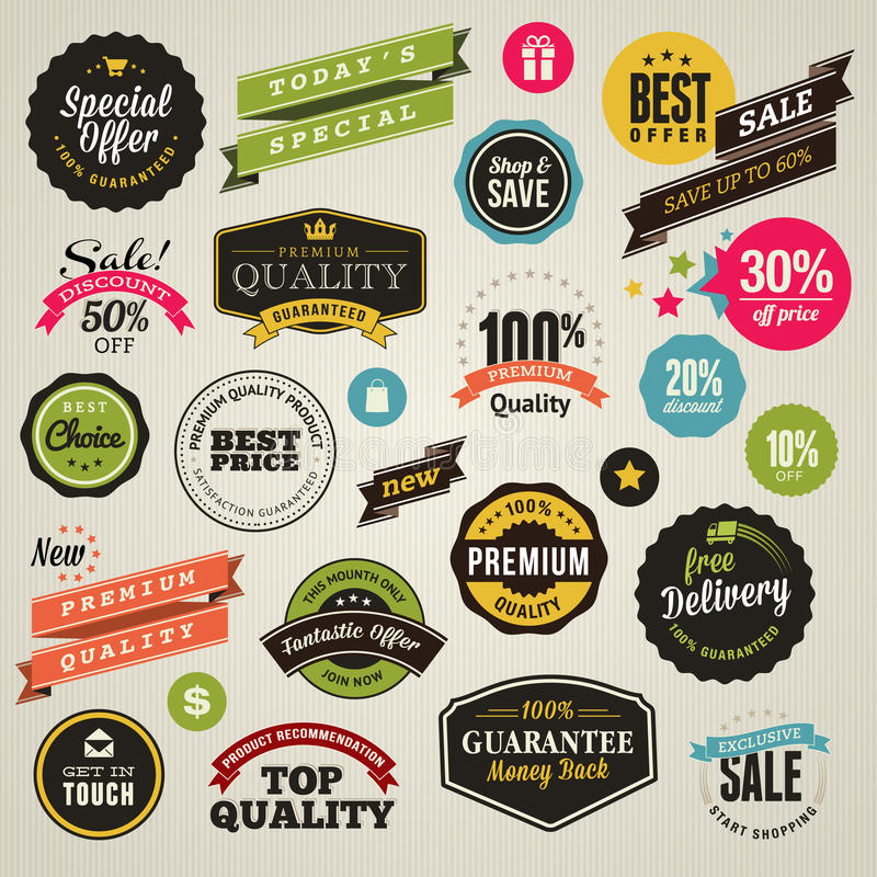 Set of stickers and ribbons vector illustration