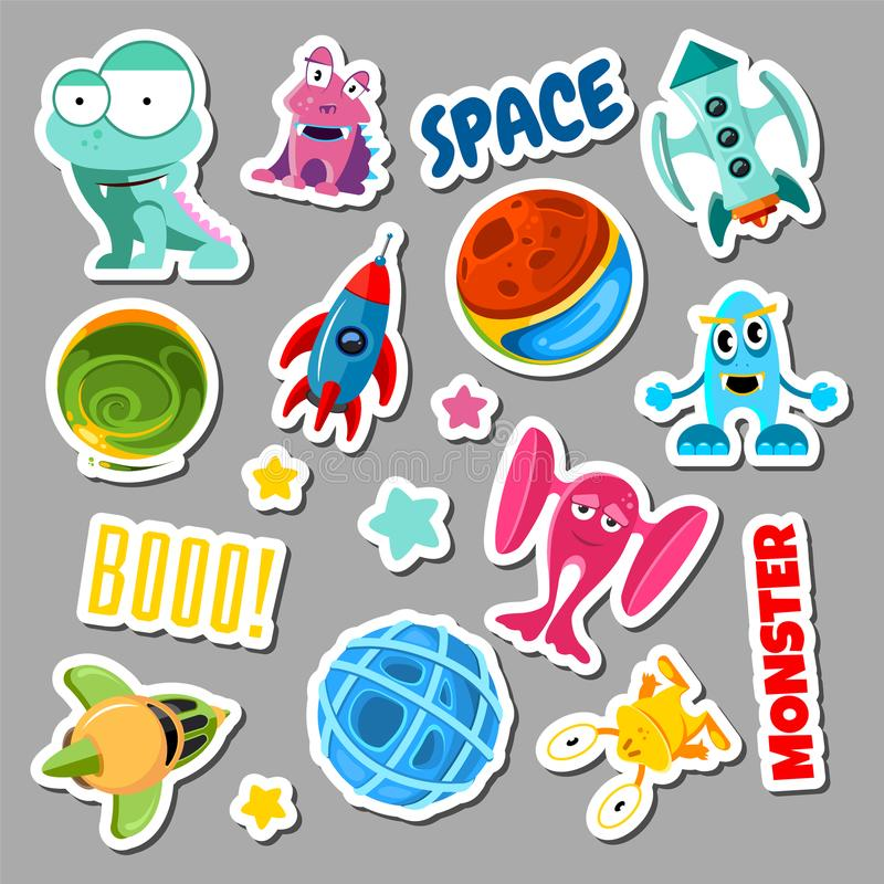 Set of stickers with space objects and monsters. Cartoon vector illustration for children royalty free illustration