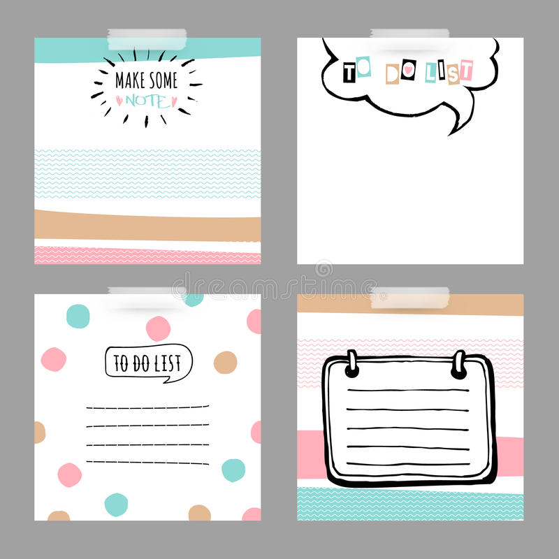 Set with stickers. To do list stock illustration