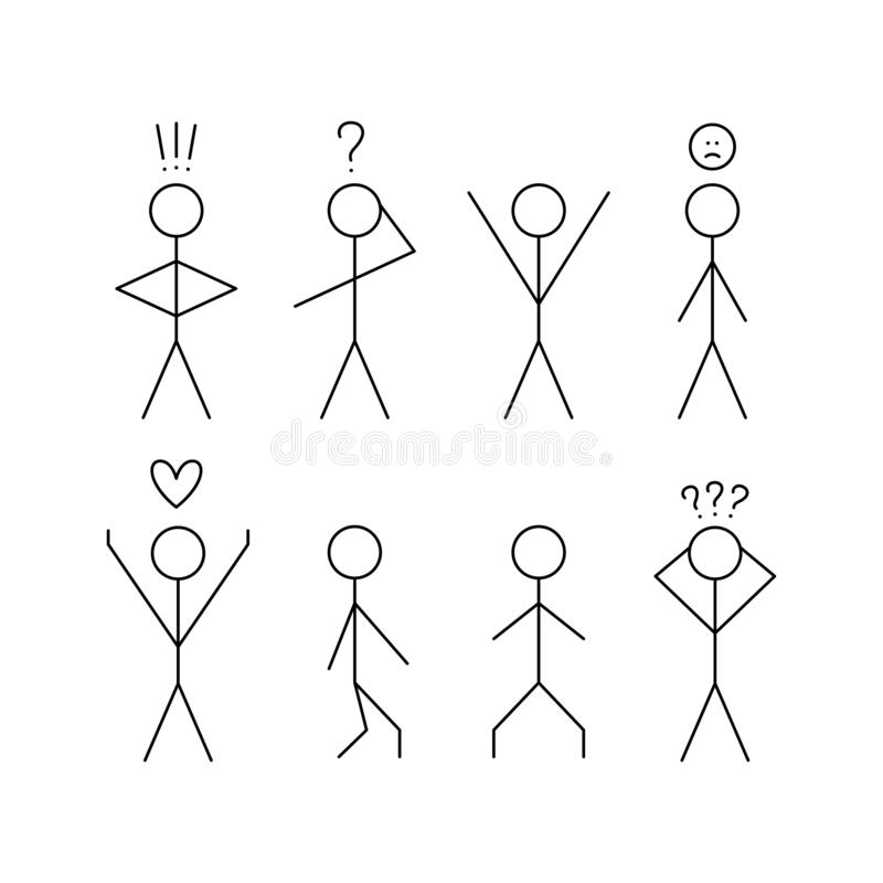 Set of sticks people figure. In thought, in love stock illustration