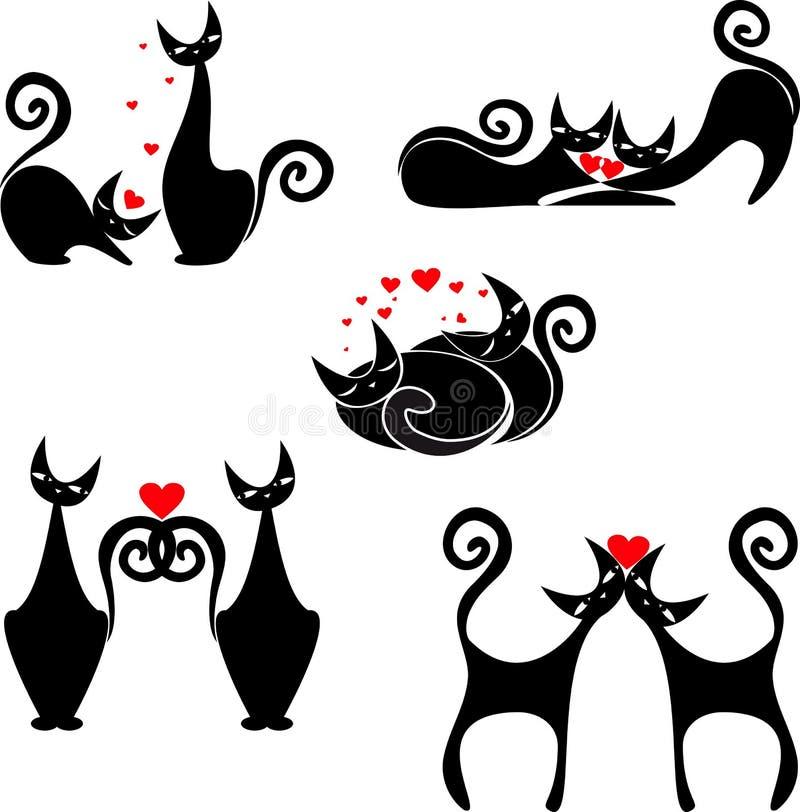 Set Stilisierte Abbildungen Der Katzen Lizenzfreies Stockfoto