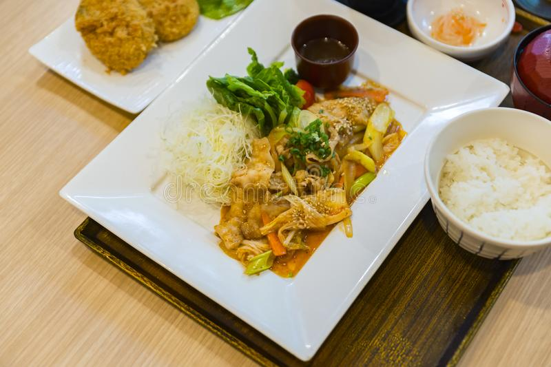 Set of Stir fried pork with Kimchi royalty free stock photos