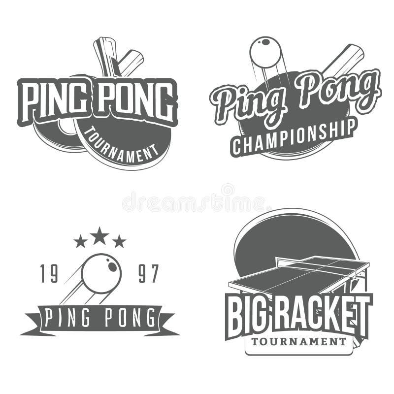 Set stołowego tenisa, śwista pong etykietki/ ilustracja wektor