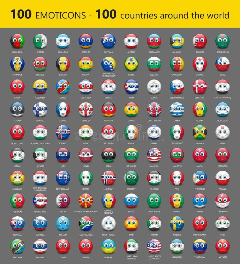 Set sto emoticons z zawody międzynarodowi zaznacza - wektorową ilustrację ilustracja wektor