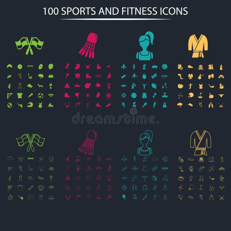 Set sto folował sport ikony na tle i cienieje ilustracji