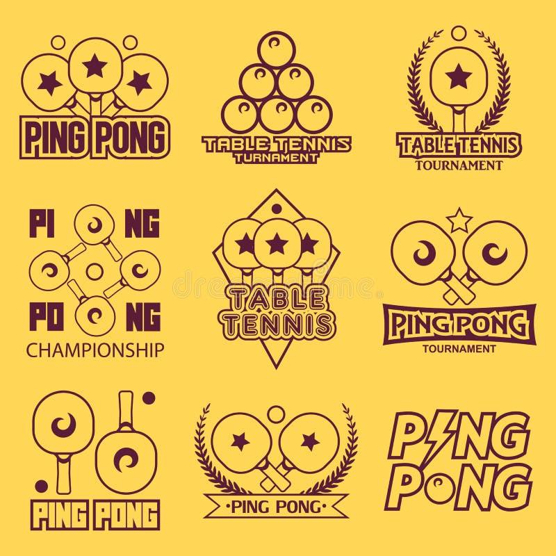 Set sto?owego tenisa ?wista pong etykietki, logowie, odznaki i projekt?w elementy, Sporta logotyp templateping royalty ilustracja