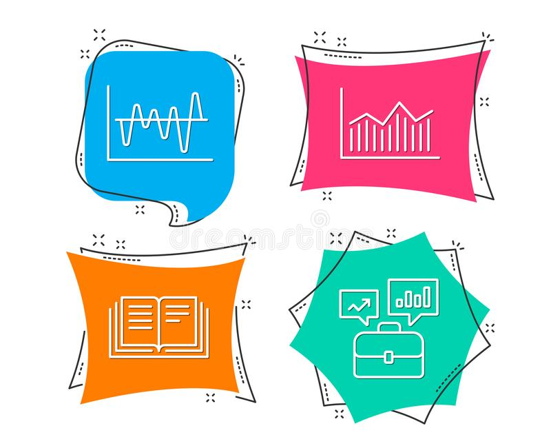 Stock analysis, Money diagram and Education icons. Business portfolio sign. Set of Stock analysis, Money diagram and Education icons. Business portfolio sign royalty free illustration