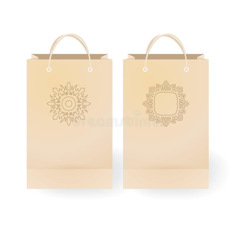 Set of stock paper shopping bag on the white bac. Kground with floral ornament illustration stock illustration