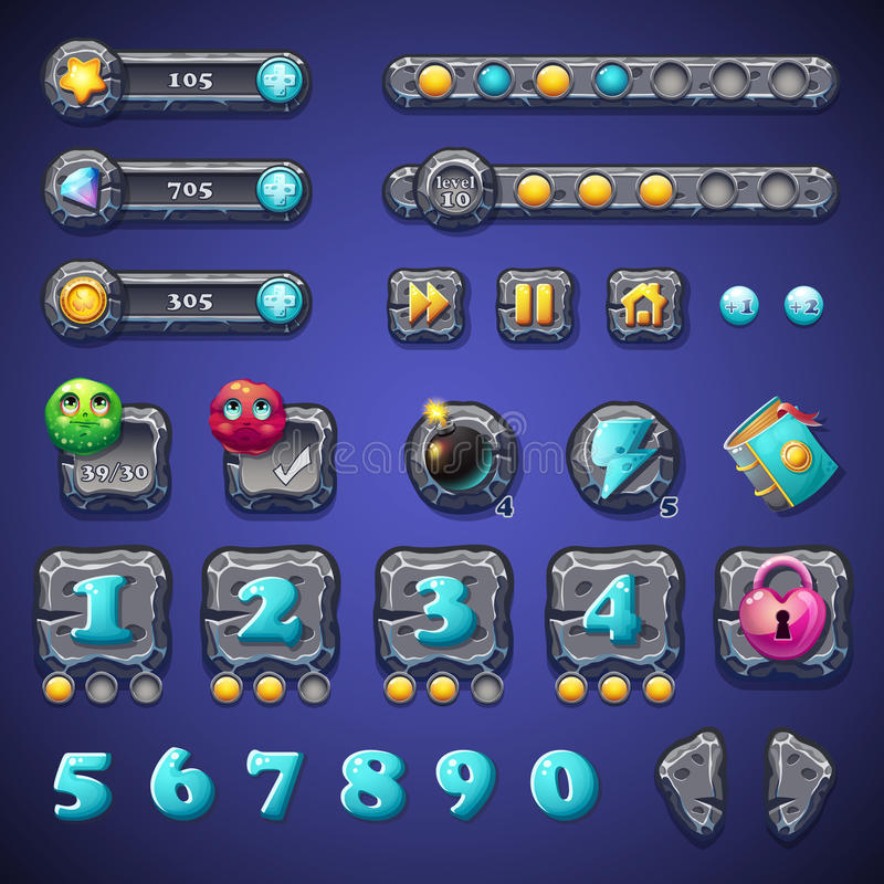 Set stone buttons, progress bars, bars objects, coins, crystals, icons, boosters and other ellementov for web design and user vector illustration
