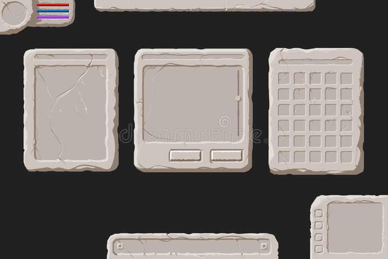 Set of stone interface elements. Set of vector stone interface elements for a fantasy game vector illustration