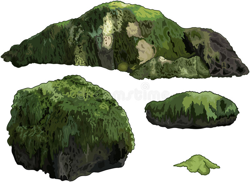 Set of Stones. Illustration of collection of stones overgrown with moss stock illustration